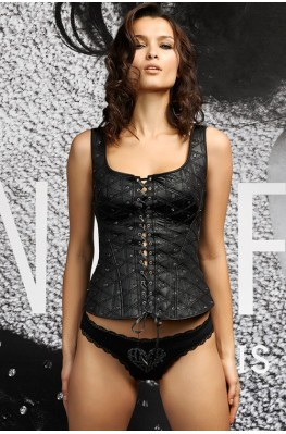 Front lace-up diamond-pattern padded bustier