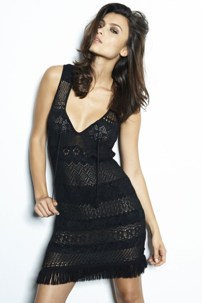Openwork knit tank top dress